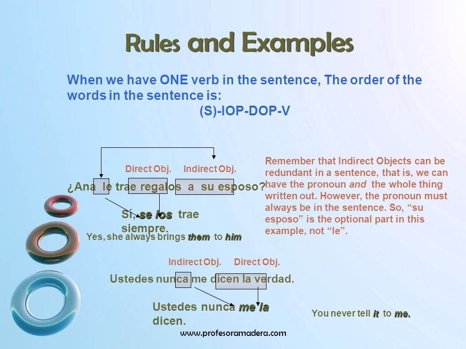 Rules and Examples When we have ONE verb in the sentence, The order of the words in the sentence is: (S)-IOP-DOP-V ¿Ana le trae regalos a su esposo.
