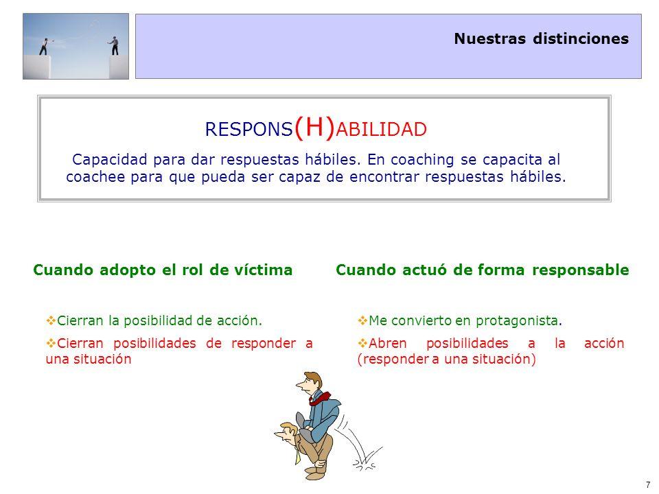 Nuestras distinciones 7 Cuando adopto el rol de víctimaCuando actuó de forma responsable Cierran la posibilidad de acción. Cierran posibilidades de re