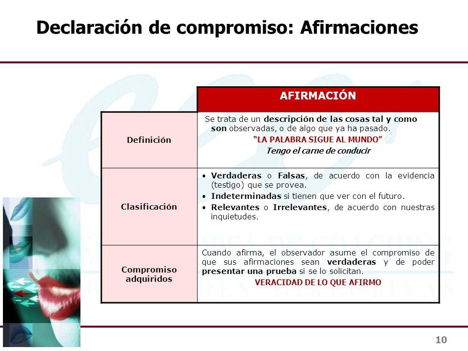 10 Declaración de compromiso: Afirmaciones AFIRMACIÓN Definición Se trata de un descripción de las cosas tal y como son observadas, o de algo que ya h