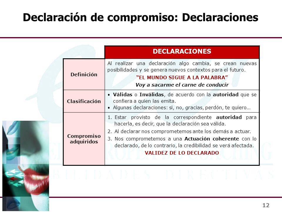 12 Declaración de compromiso: Declaraciones DECLARACIONES Definición Al realizar una declaración algo cambia, se crean nuevas posibilidades y se gener