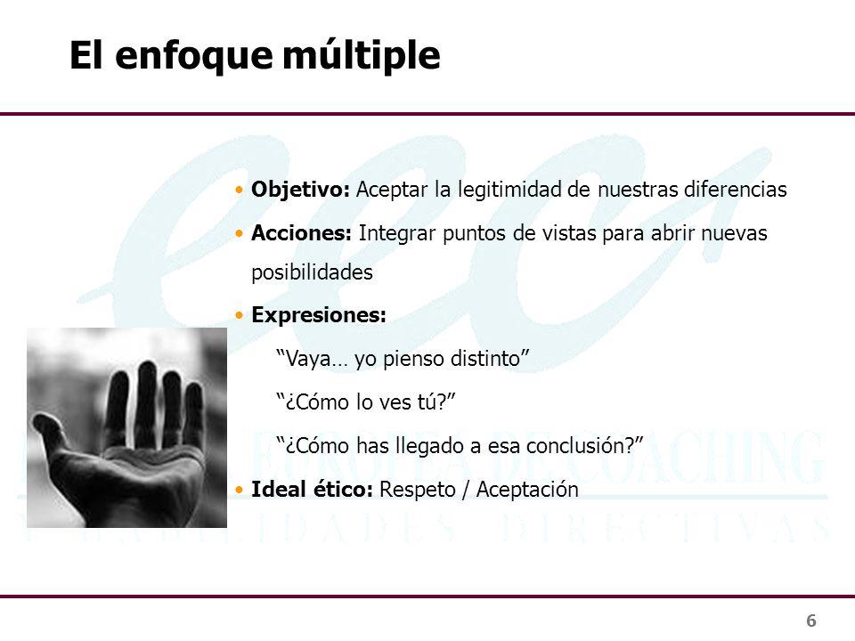 6 El enfoque múltiple Objetivo: Aceptar la legitimidad de nuestras diferencias Acciones: Integrar puntos de vistas para abrir nuevas posibilidades Exp
