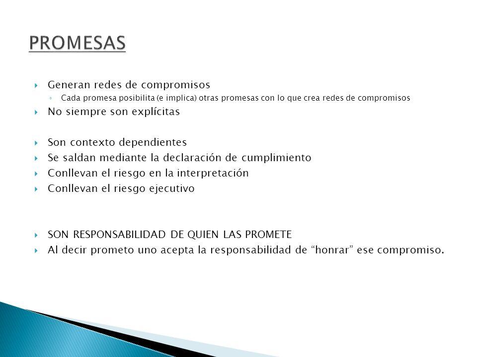 Generan redes de compromisos Cada promesa posibilita (e implica) otras promesas con lo que crea redes de compromisos No siempre son explícitas Son con