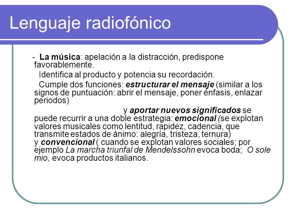 Lenguaje radiofónico - La música: apelación a la distracción, predispone favorablemente. Identifica al producto y potencia su recordación. Cumple dos