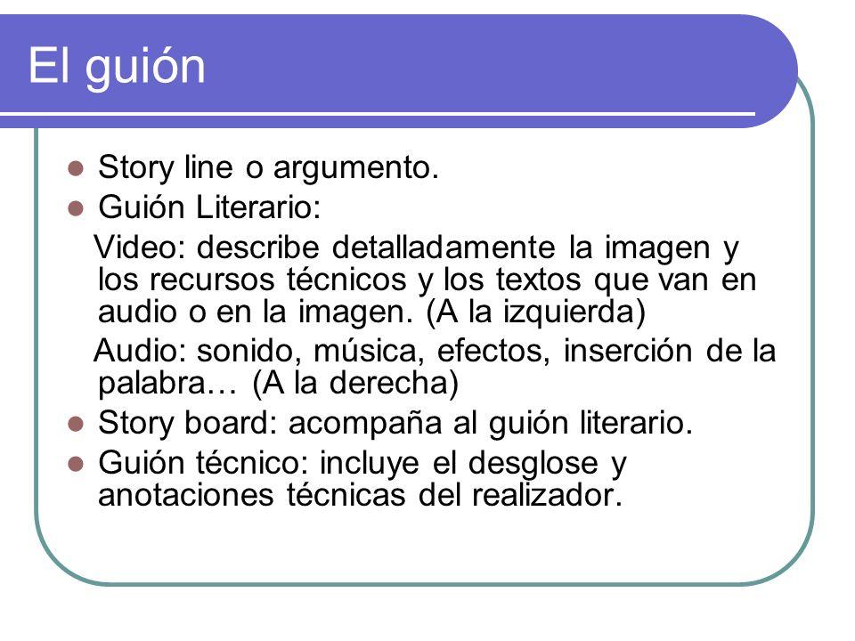 El guión Story line o argumento. Guión Literario: Video: describe detalladamente la imagen y los recursos técnicos y los textos que van en audio o en