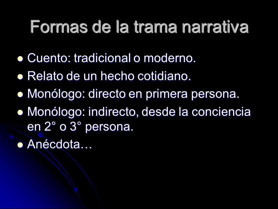 Formas de la trama narrativa Cuento: tradicional o moderno. Cuento: tradicional o moderno. Relato de un hecho cotidiano. Relato de un hecho cotidiano.