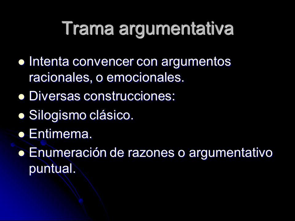 Trama argumentativa Intenta convencer con argumentos racionales, o emocionales. Intenta convencer con argumentos racionales, o emocionales. Diversas c