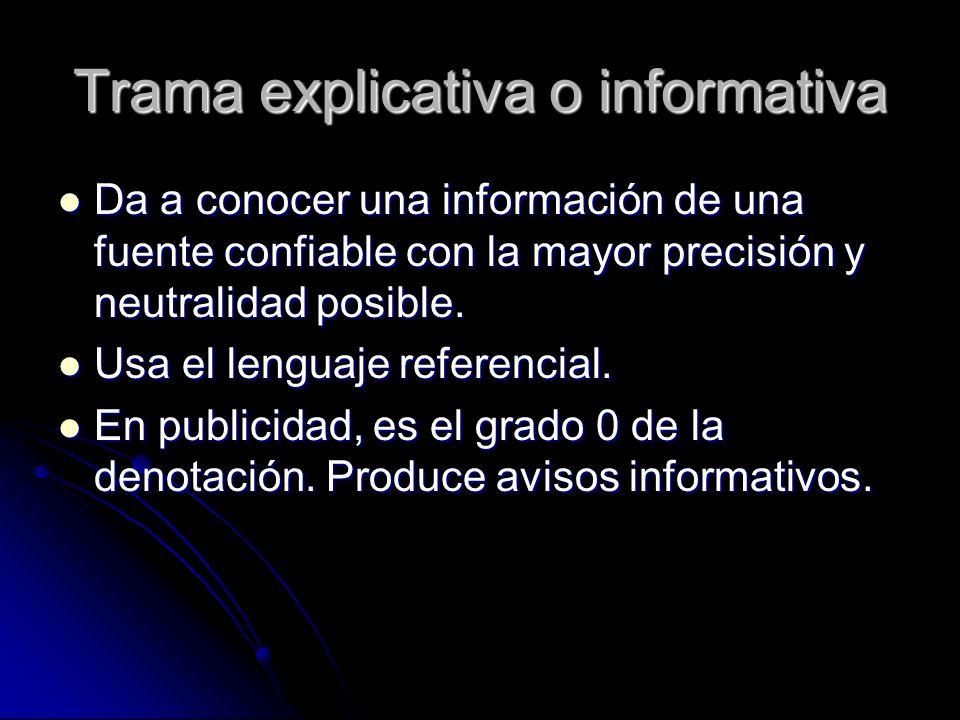 Trama explicativa o informativa Da a conocer una información de una fuente confiable con la mayor precisión y neutralidad posible. Da a conocer una in
