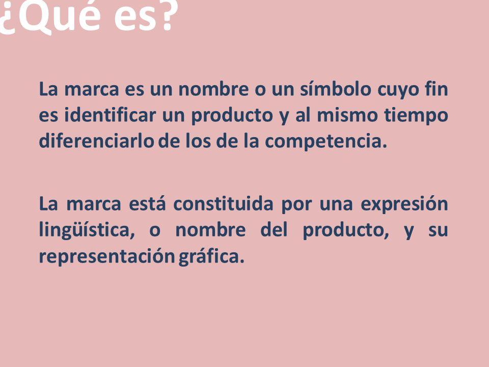 ¿Qué es? La marca es un nombre o un símbolo cuyo fin es identificar un producto y al mismo tiempo diferenciarlo de los de la competencia. La marca est