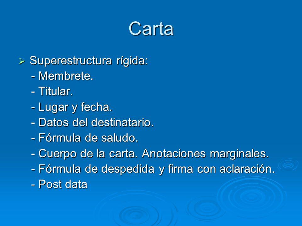 Carta Superestructura rígida: Superestructura rígida: - Membrete. - Membrete. - Titular. - Titular. - Lugar y fecha. - Lugar y fecha. - Datos del dest