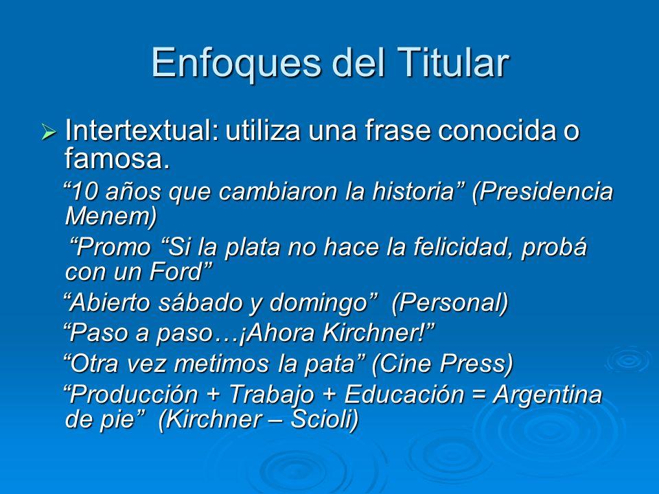 Enfoques del Titular Intertextual: utiliza una frase conocida o famosa. Intertextual: utiliza una frase conocida o famosa. 10 años que cambiaron la hi