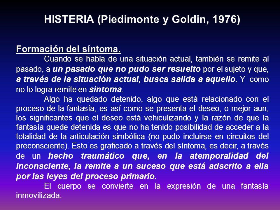HISTERIA (Piedimonte y Goldin, 1976) Reconstrucción de la situación edípica.