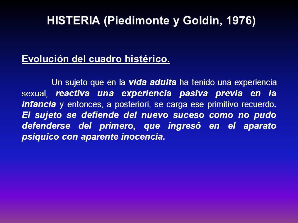 HISTERIA (Piedimonte y Goldin, 1976) Función simbólica la importancia de lo intrasubjetivo.