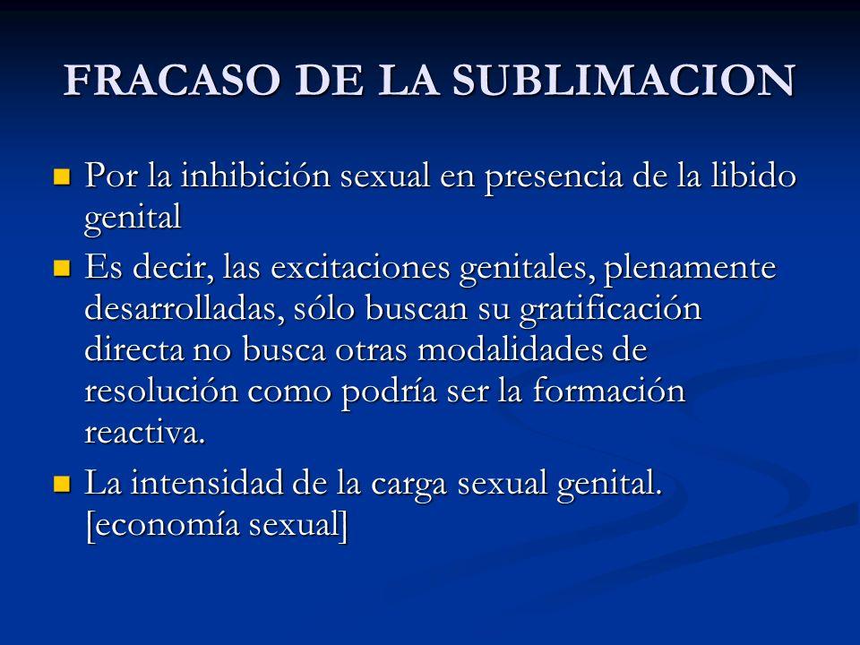 FRACASO DE LA SUBLIMACION Por la inhibición sexual en presencia de la libido genital Por la inhibición sexual en presencia de la libido genital Es dec