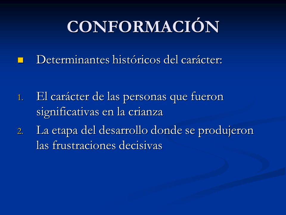 CONFORMACIÓN Determinantes históricos del carácter: Determinantes históricos del carácter: 1. El carácter de las personas que fueron significativas en