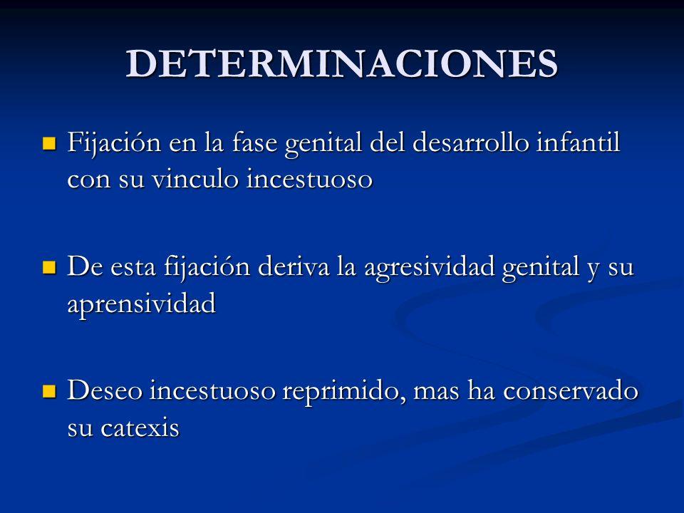 DETERMINACIONES Fijación en la fase genital del desarrollo infantil con su vinculo incestuoso Fijación en la fase genital del desarrollo infantil con