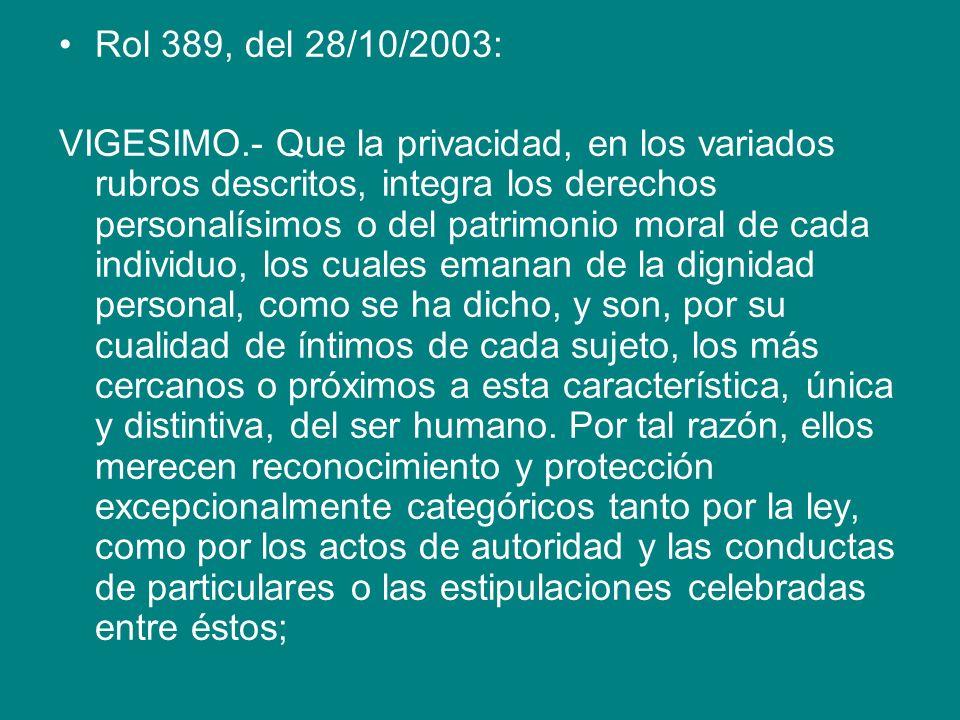 Rol 389, del 28/10/2003: VIGESIMO.- Que la privacidad, en los variados rubros descritos, integra los derechos personalísimos o del patrimonio moral de