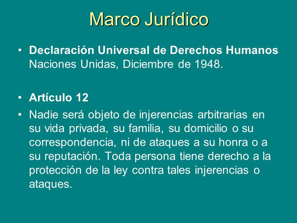 Marco Jurídico Declaración Universal de Derechos Humanos Naciones Unidas, Diciembre de 1948. Artículo 12 Nadie será objeto de injerencias arbitrarias