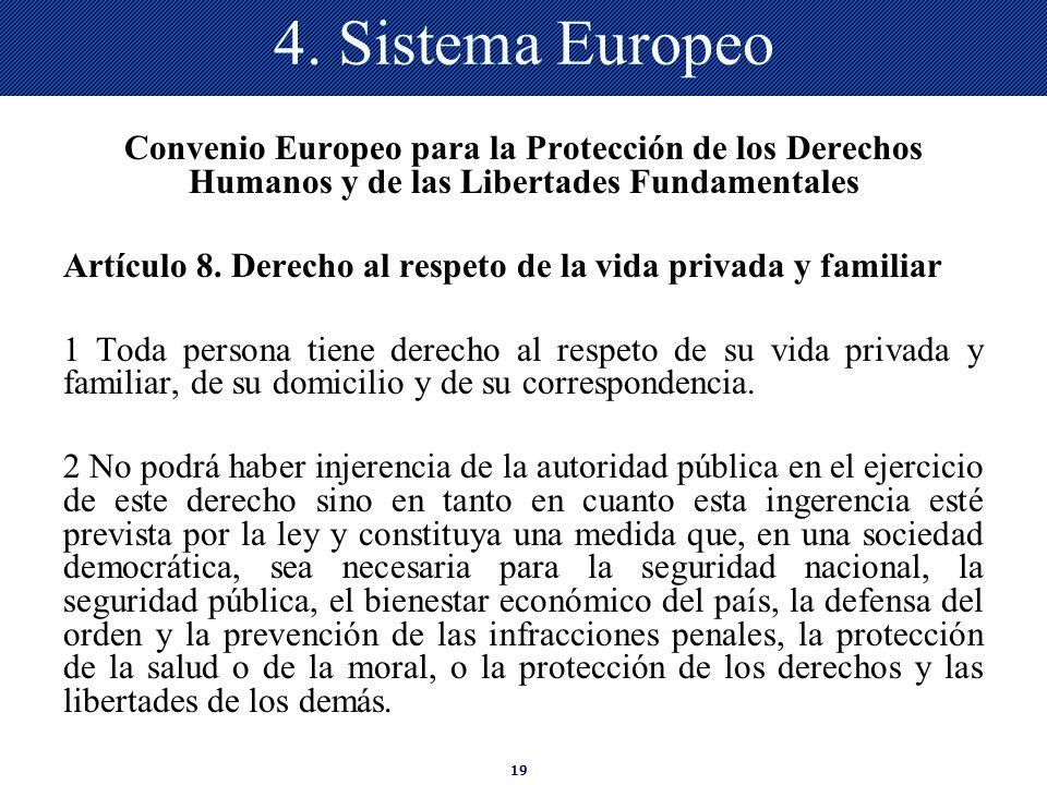 19 4. Sistema Europeo Convenio Europeo para la Protección de los Derechos Humanos y de las Libertades Fundamentales Artículo 8. Derecho al respeto de