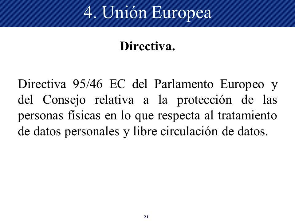 21 4. Unión Europea Directiva. Directiva 95/46 EC del Parlamento Europeo y del Consejo relativa a la protección de las personas físicas en lo que resp