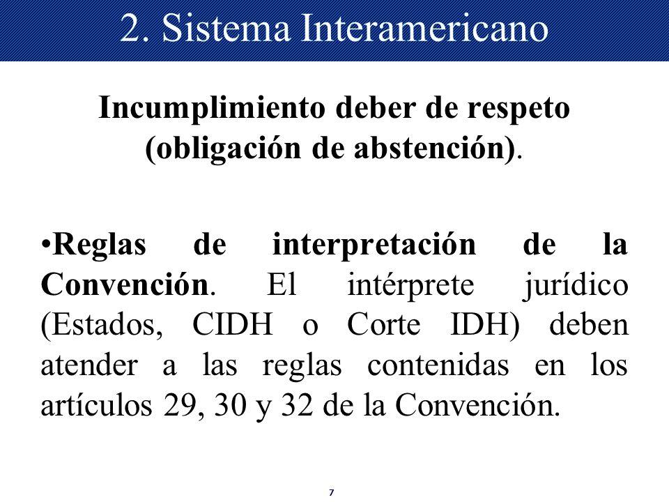 7 2. Sistema Interamericano Incumplimiento deber de respeto (obligación de abstención). Reglas de interpretación de la Convención. El intérprete juríd