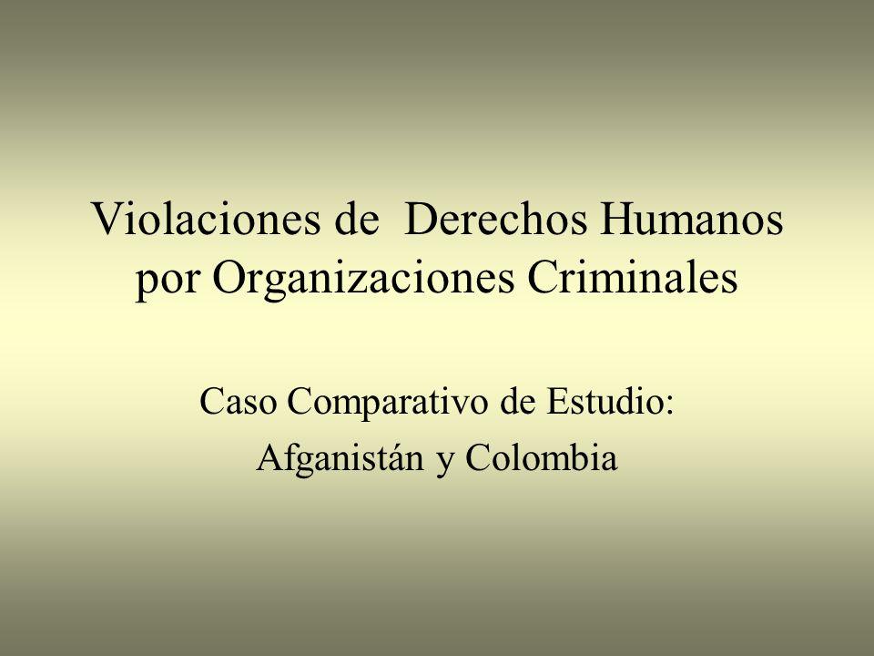 Agenda Derechos Humanos (DH) – Interpretaciones Variadas Organizaciones Criminales y DH Caso Comparativo de Estudio: Afganistán y Colombia – Violaciones de DH por parte de Organizaciones Criminales