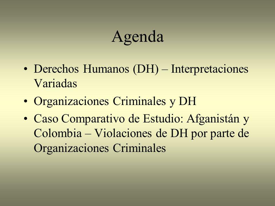 Agenda Derechos Humanos (DH) – Interpretaciones Variadas Organizaciones Criminales y DH Caso Comparativo de Estudio: Afganistán y Colombia – Violacion