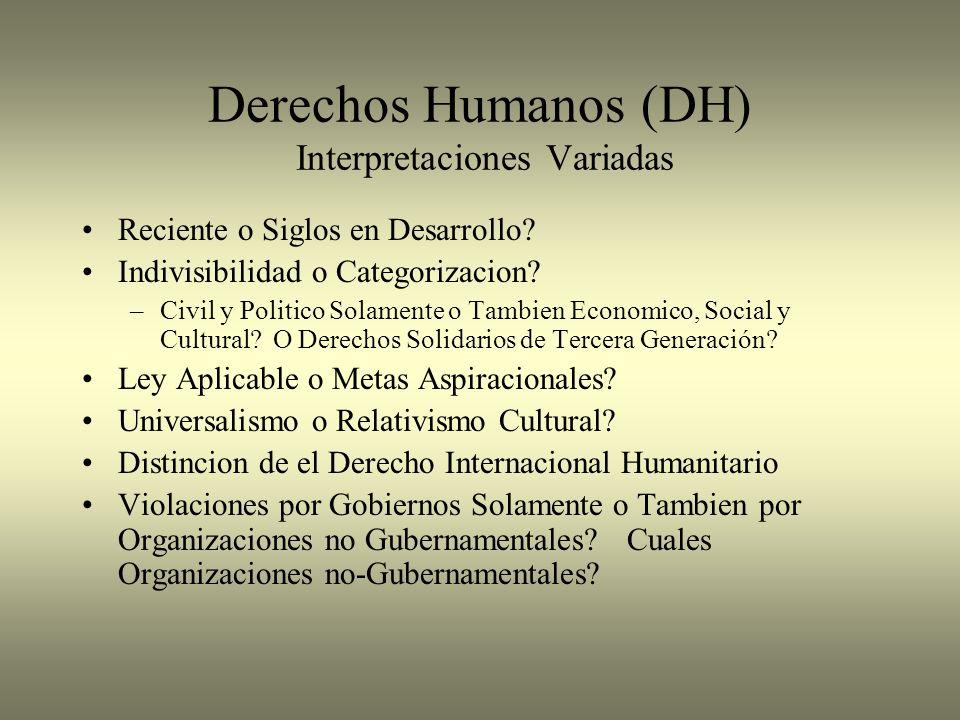 Derechos Humanos (DH) Interpretaciones Variadas Reciente o Siglos en Desarrollo? Indivisibilidad o Categorizacion? –Civil y Politico Solamente o Tambi