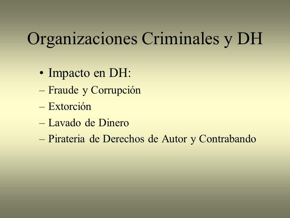 Organizaciones Criminales y DH Impacto en DH: –Fraude y Corrupción –Extorción –Lavado de Dinero –Pirateria de Derechos de Autor y Contrabando
