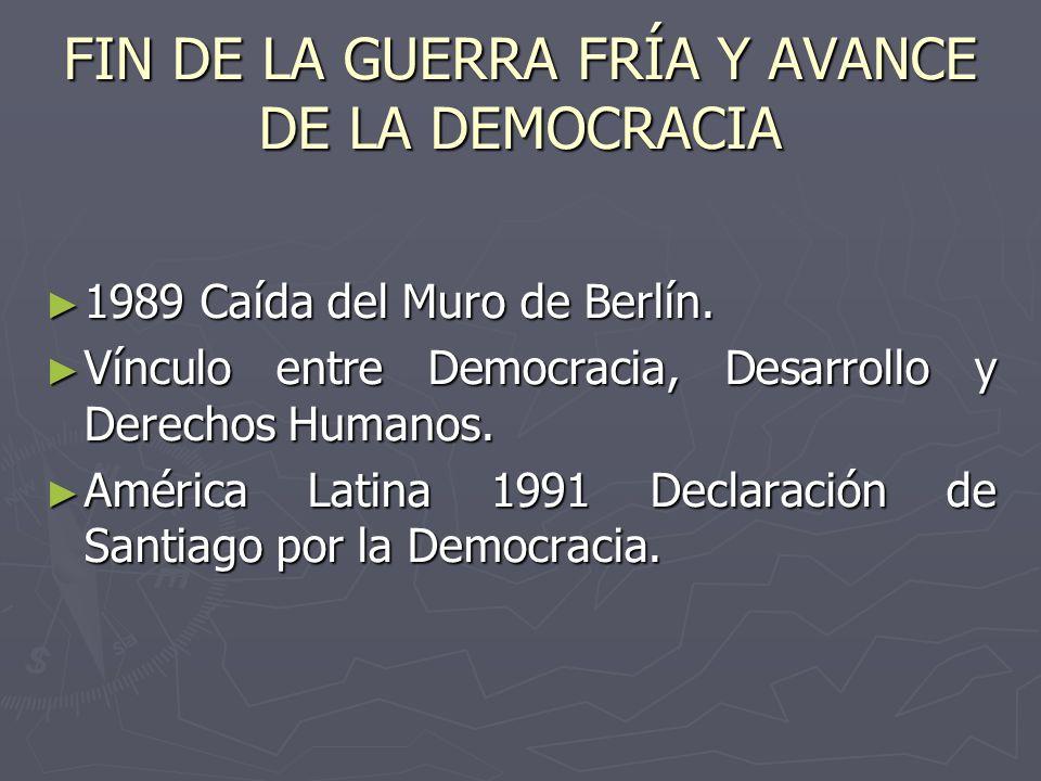FIN DE LA GUERRA FRÍA Y AVANCE DE LA DEMOCRACIA 1989 Caída del Muro de Berlín. 1989 Caída del Muro de Berlín. Vínculo entre Democracia, Desarrollo y D