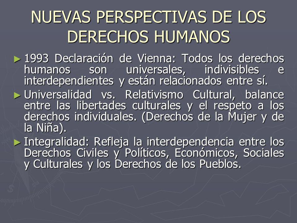 NUEVAS PERSPECTIVAS DE LOS DERECHOS HUMANOS 1993 Declaración de Vienna: Todos los derechos humanos son universales, indivisibles e interdependientes y
