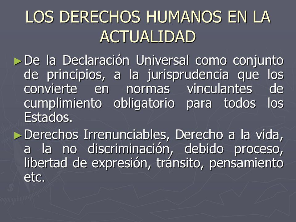 LOS DERECHOS HUMANOS EN LA ACTUALIDAD De la Declaración Universal como conjunto de principios, a la jurisprudencia que los convierte en normas vincula