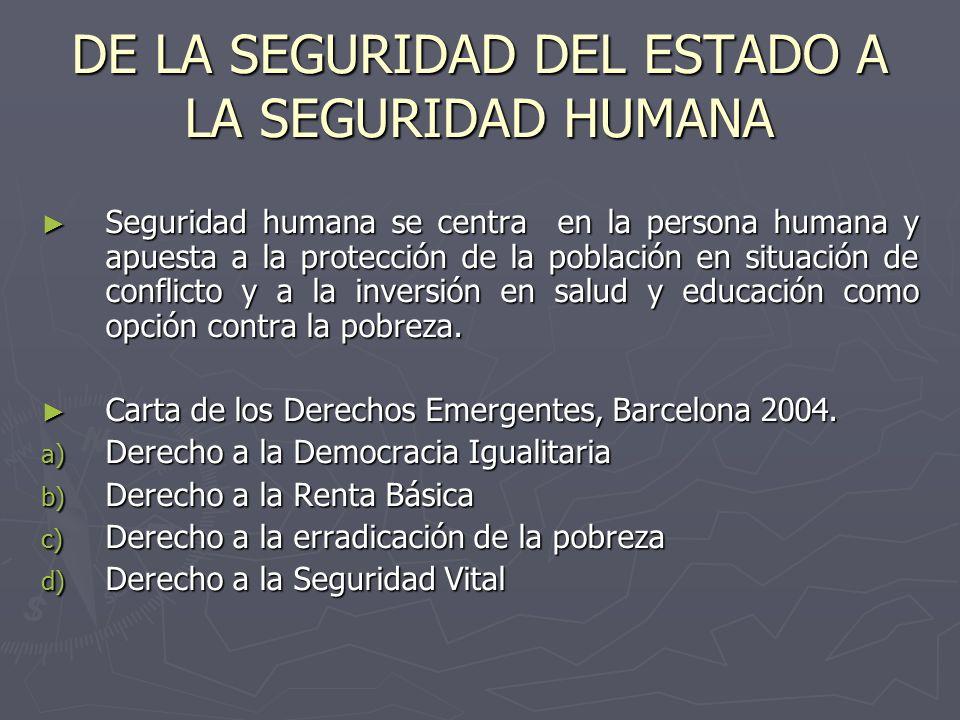DE LA SEGURIDAD DEL ESTADO A LA SEGURIDAD HUMANA Seguridad humana se centra en la persona humana y apuesta a la protección de la población en situació