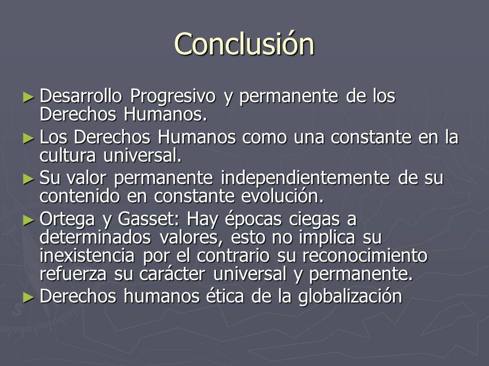 Conclusión Desarrollo Progresivo y permanente de los Derechos Humanos. Desarrollo Progresivo y permanente de los Derechos Humanos. Los Derechos Humano