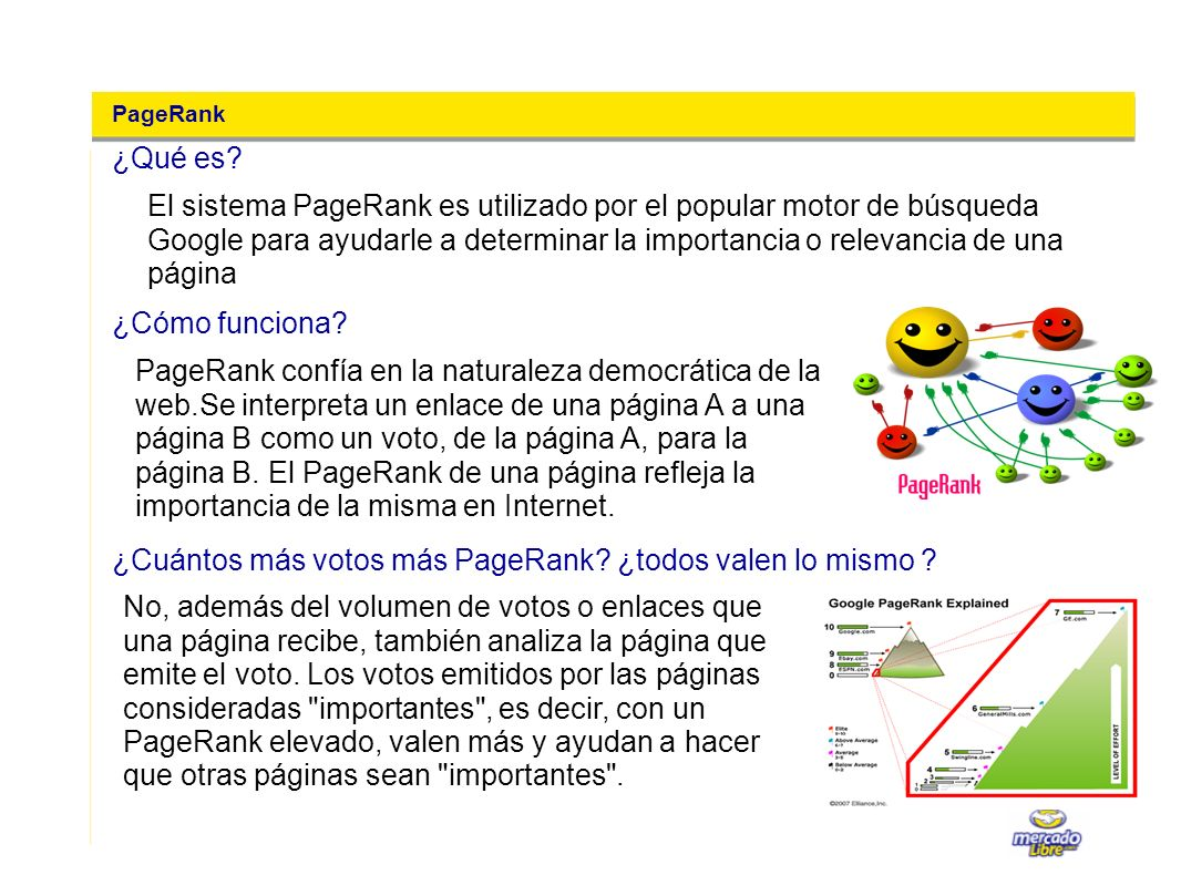 PageRank El sistema PageRank es utilizado por el popular motor de búsqueda Google para ayudarle a determinar la importancia o relevancia de una página