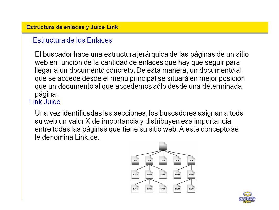 Estructura de enlaces y Juice Link El buscador hace una estructura jerárquica de las páginas de un sitio web en función de la cantidad de enlaces que