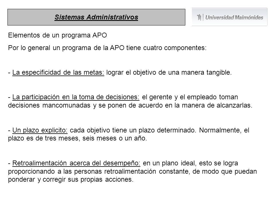 Elementos de un programa APO Por lo general un programa de la APO tiene cuatro componentes: - La especificidad de las metas: lograr el objetivo de una