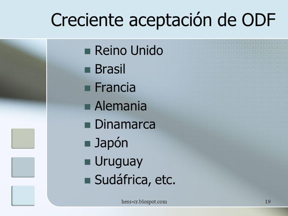 hess-cr.blospot.com19 Creciente aceptación de ODF Reino Unido Brasil Francia Alemania Dinamarca Japón Uruguay Sudáfrica, etc.