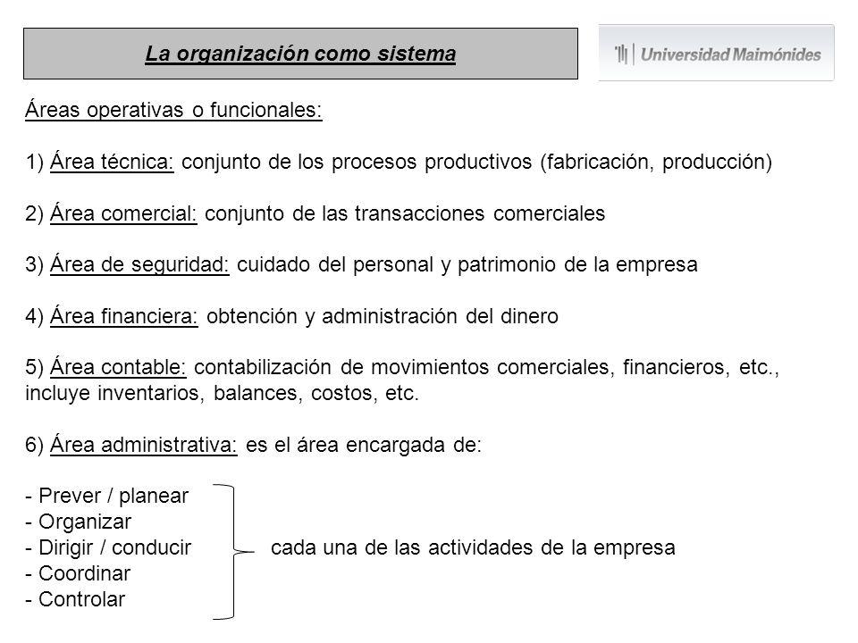 Áreas operativas o funcionales: 1) Área técnica: conjunto de los procesos productivos (fabricación, producción) 2) Área comercial: conjunto de las tra