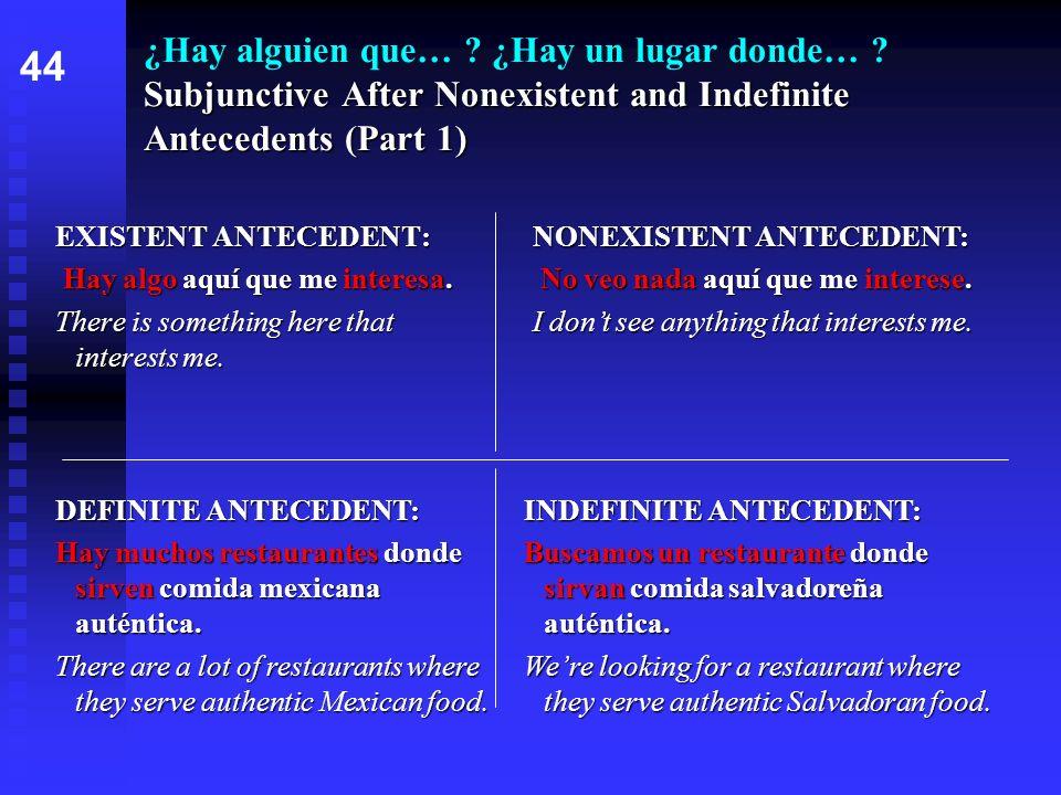 Subjunctive After Nonexistent and Indefinite Antecedents (Part 1) ¿Hay alguien que… ? ¿Hay un lugar donde… ? Subjunctive After Nonexistent and Indefin