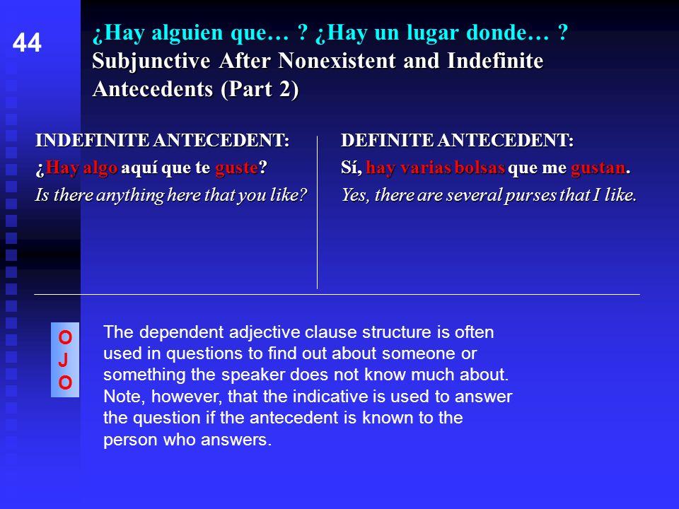 Subjunctive After Nonexistent and Indefinite Antecedents (Part 2) ¿Hay alguien que… ? ¿Hay un lugar donde… ? Subjunctive After Nonexistent and Indefin