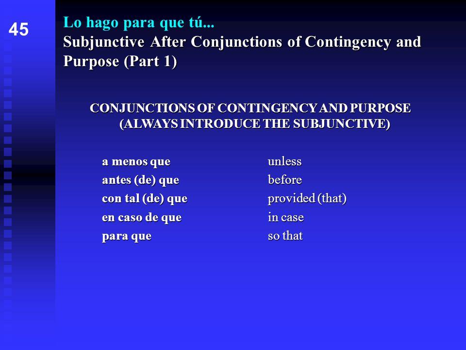 Subjunctive After Conjunctions of Contingency and Purpose (Part 1) Lo hago para que tú... Subjunctive After Conjunctions of Contingency and Purpose (P