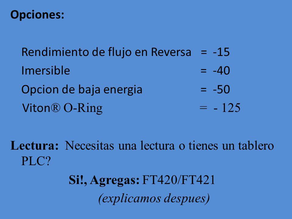 Opciones: Rendimiento de flujo en Reversa = -15 Imersible = -40 Opcion de baja energia = -50 Viton ® O-Ring = - 125 Lectura: Necesitas una lectura o t