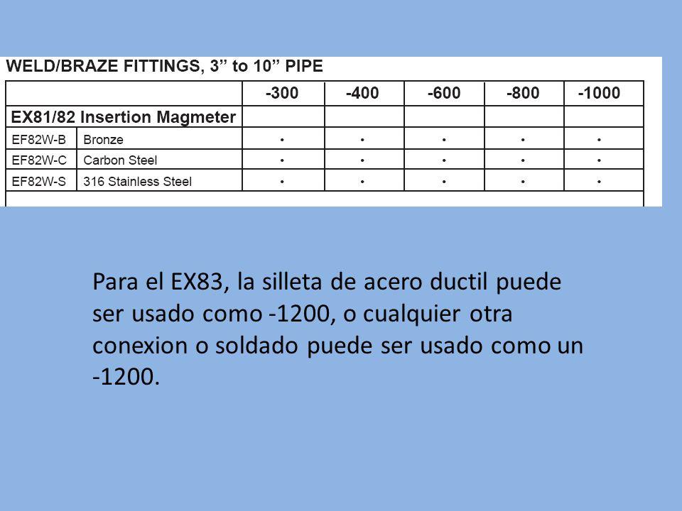 Para el EX83, la silleta de acero ductil puede ser usado como -1200, o cualquier otra conexion o soldado puede ser usado como un -1200.