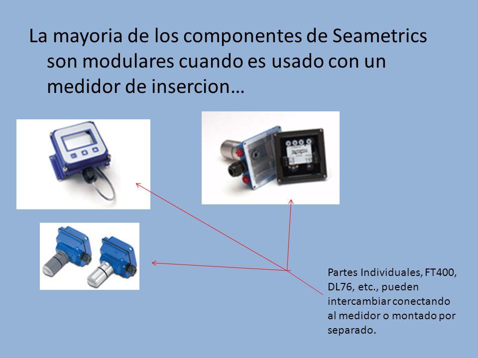 La mayoria de los componentes de Seametrics son modulares cuando es usado con un medidor de insercion… Partes Individuales, FT400, DL76, etc., pueden