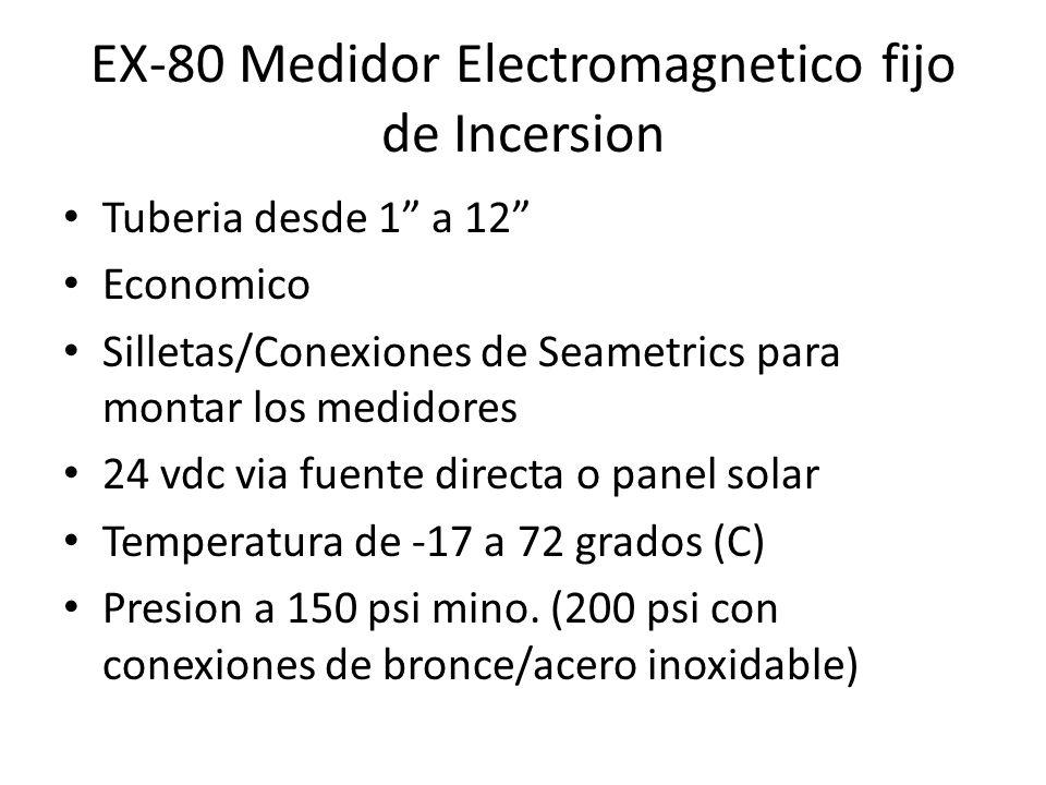 EX-80 Medidor Electromagnetico fijo de Incersion Tuberia desde 1 a 12 Economico Silletas/Conexiones de Seametrics para montar los medidores 24 vdc via