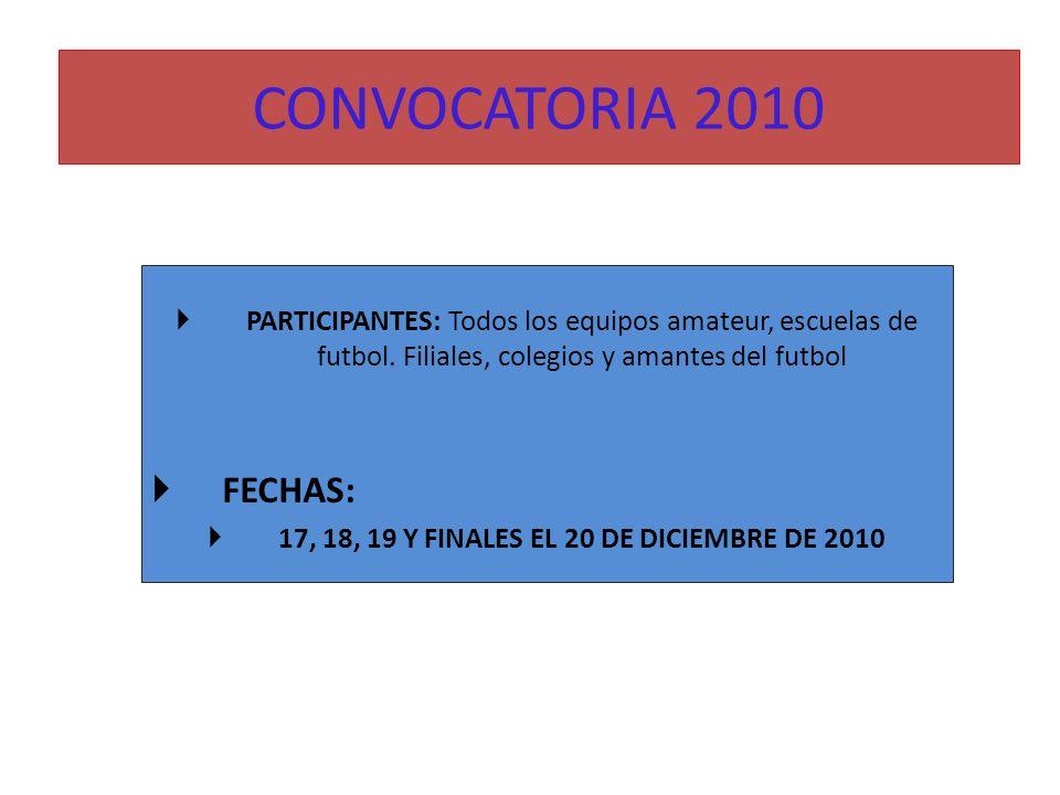 CONVOCATORIA 2010 PARTICIPANTES: Todos los equipos amateur, escuelas de futbol. Filiales, colegios y amantes del futbol FECHAS: 17, 18, 19 Y FINALES E