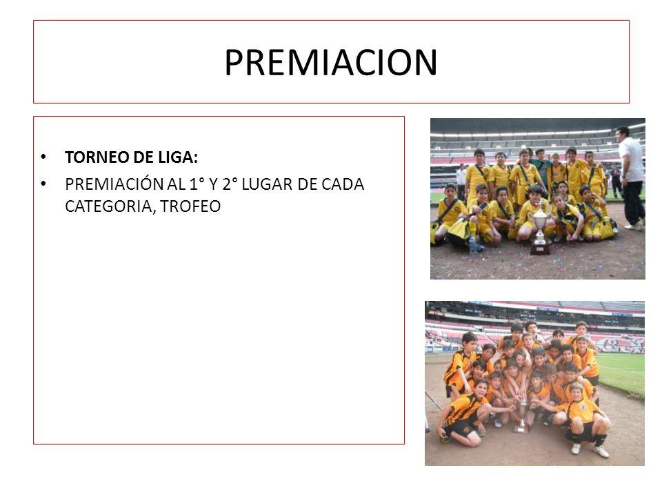 PREMIACION TORNEO DE LIGA: PREMIACIÓN AL 1° Y 2° LUGAR DE CADA CATEGORIA, TROFEO