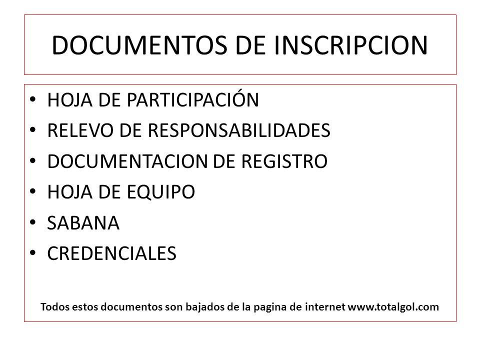 DOCUMENTOS DE INSCRIPCION HOJA DE PARTICIPACIÓN RELEVO DE RESPONSABILIDADES DOCUMENTACION DE REGISTRO HOJA DE EQUIPO SABANA CREDENCIALES Todos estos documentos son bajados de la pagina de internet www.totalgol.com