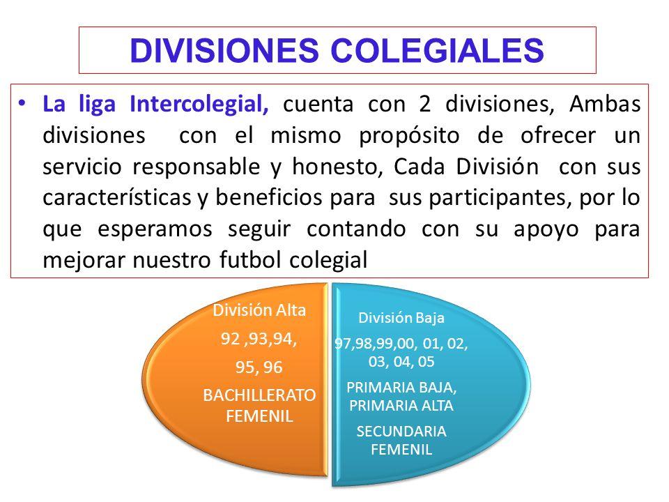 DIVISIONES COLEGIALES La liga Intercolegial, cuenta con 2 divisiones, Ambas divisiones con el mismo propósito de ofrecer un servicio responsable y honesto, Cada División con sus características y beneficios para sus participantes, por lo que esperamos seguir contando con su apoyo para mejorar nuestro futbol colegial División Baja 97,98,99,00, 01, 02, 03, 04, 05 PRIMARIA BAJA, PRIMARIA ALTA SECUNDARIA FEMENIL División Alta 92,93,94, 95, 96 BACHILLERATO FEMENIL