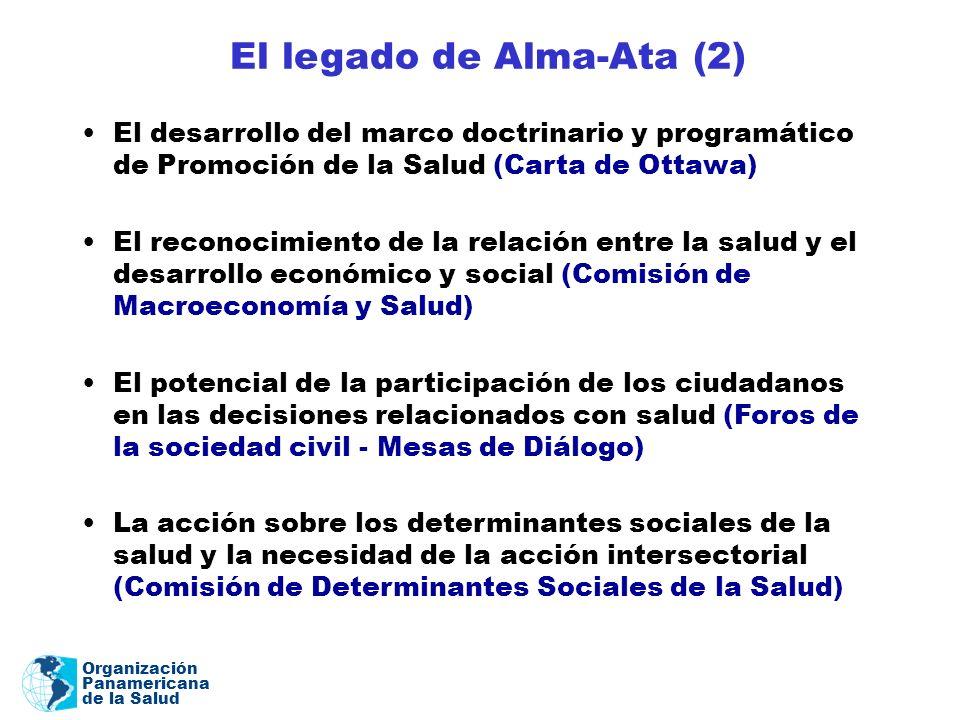 Organización Panamericana de la Salud El legado de Alma-Ata (2) El desarrollo del marco doctrinario y programático de Promoción de la Salud (Carta de